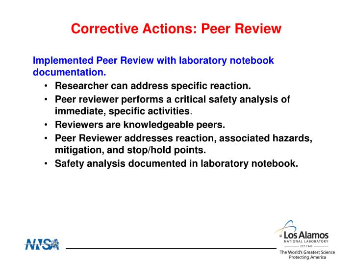 Corrective Actions: Peer Review