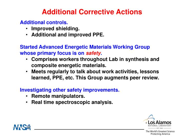 Additional Corrective Actions