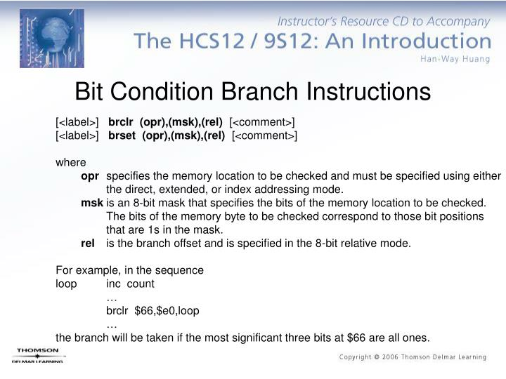 Bit Condition Branch Instructions