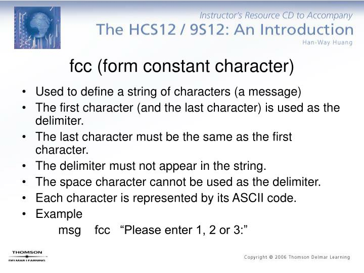 fcc (form constant character)
