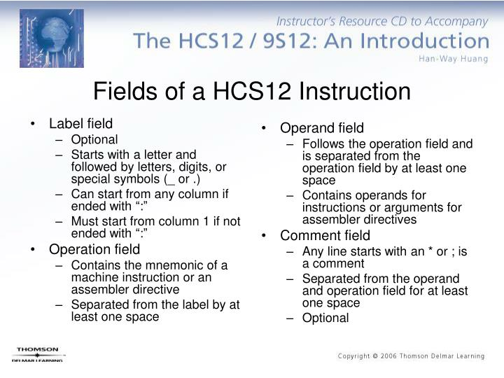 Fields of a hcs12 instruction