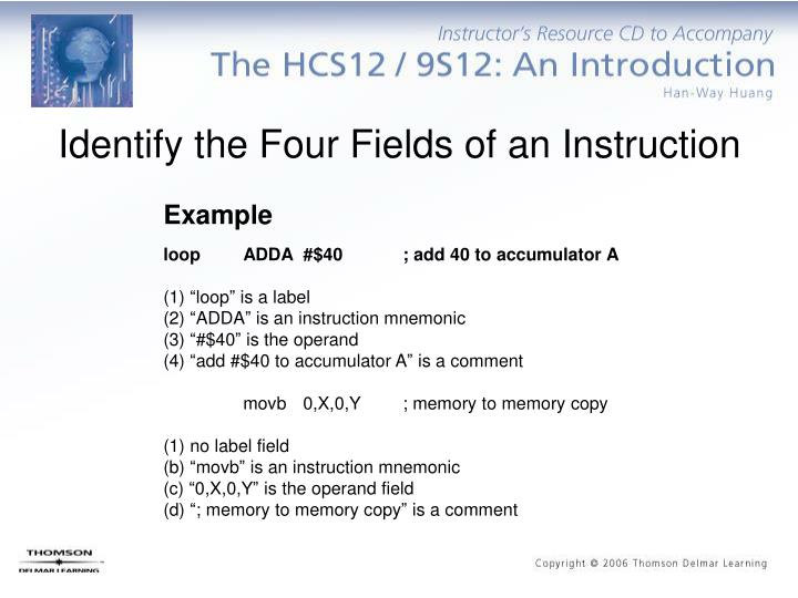 Identify the Four Fields of an Instruction