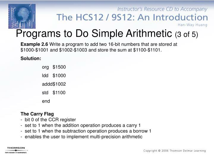 Programs to Do Simple Arithmetic