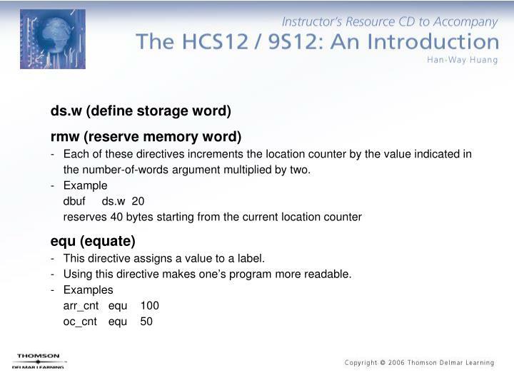 ds.w (define storage word)