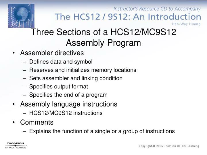 Three sections of a hcs12 mc9s12 assembly program