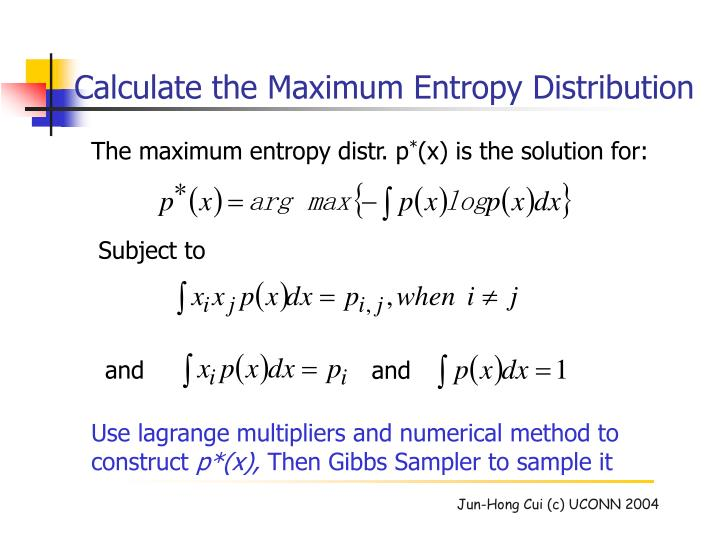 The maximum entropy distr. p
