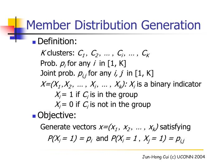 Member Distribution Generation