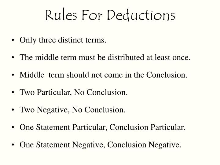 Rules For Deductions
