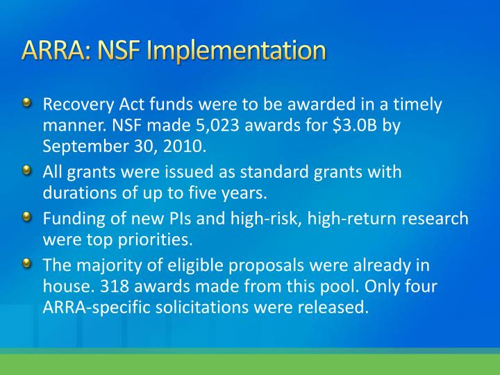ARRA: NSF Implementation
