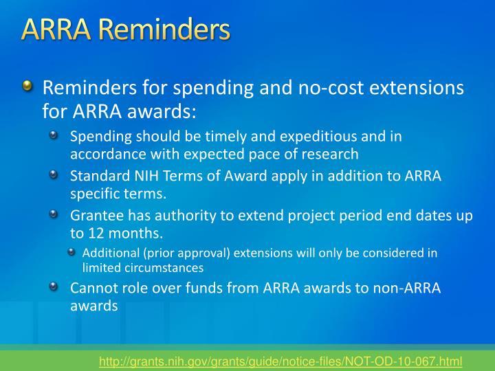 ARRA Reminders
