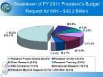 breakdown of fy 2011 president s budget request for nih 32 2 billion