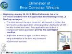 elimination of error correction window