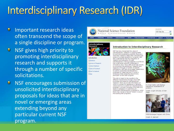 Interdisciplinary Research (IDR)