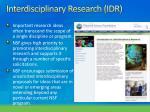interdisciplinary research idr