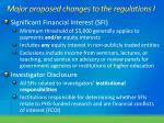 major proposed changes to the regulations i