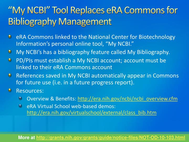 """My NCBI"" Tool Replaces eRA Commons for Bibliography Management"