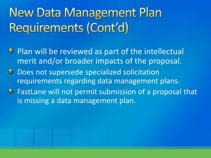 New Data Management Plan