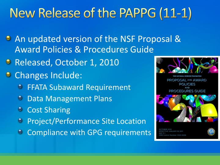 New Release of the PAPPG (11-1)
