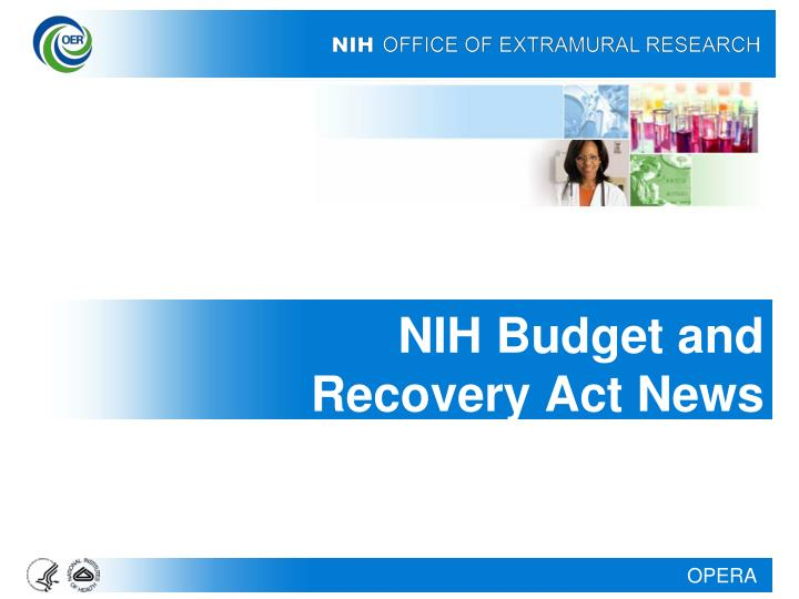 Nih budget and recovery act news