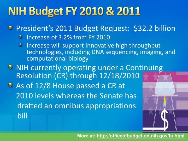 NIH Budget FY 2010 & 2011
