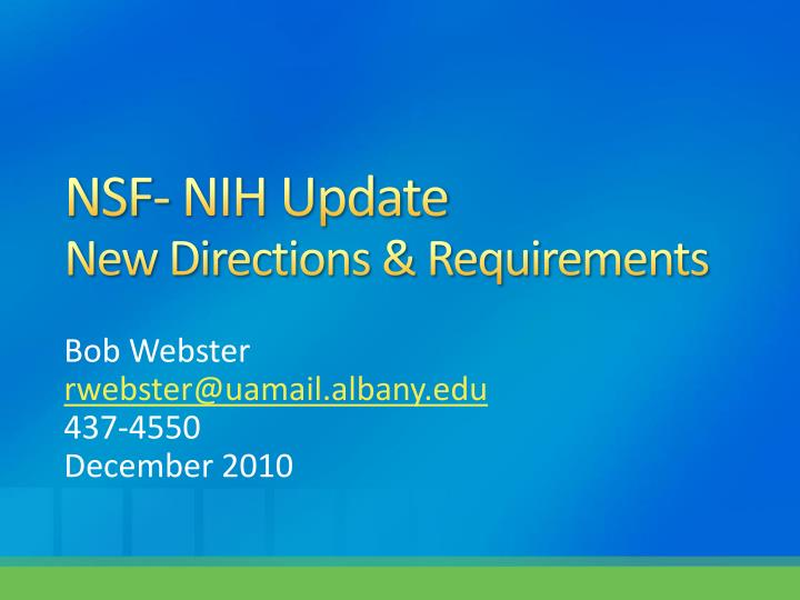 Nsf nih update new directions requirements