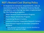 nsf s revised cost sharing policy