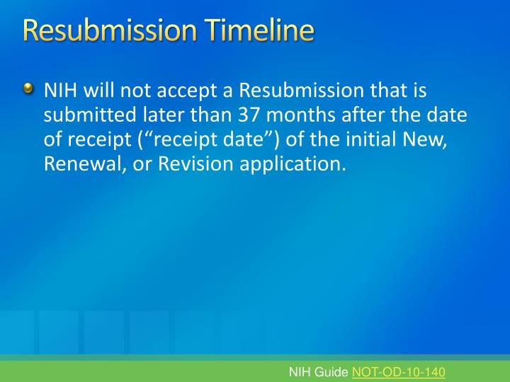 Resubmission Timeline