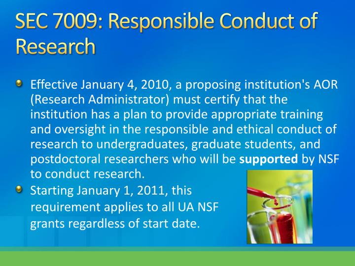SEC 7009: Responsible Conduct of