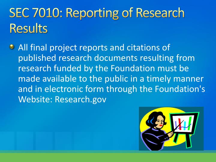 SEC 7010: Reporting of Research