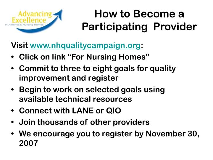 How to Become a Participating  Provider
