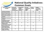 national quality initiatives common goals