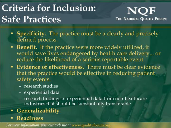 Criteria for Inclusion: Safe Practices