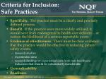 criteria for inclusion safe practices