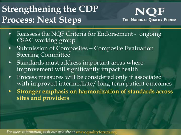 Strengthening the CDP Process: Next Steps