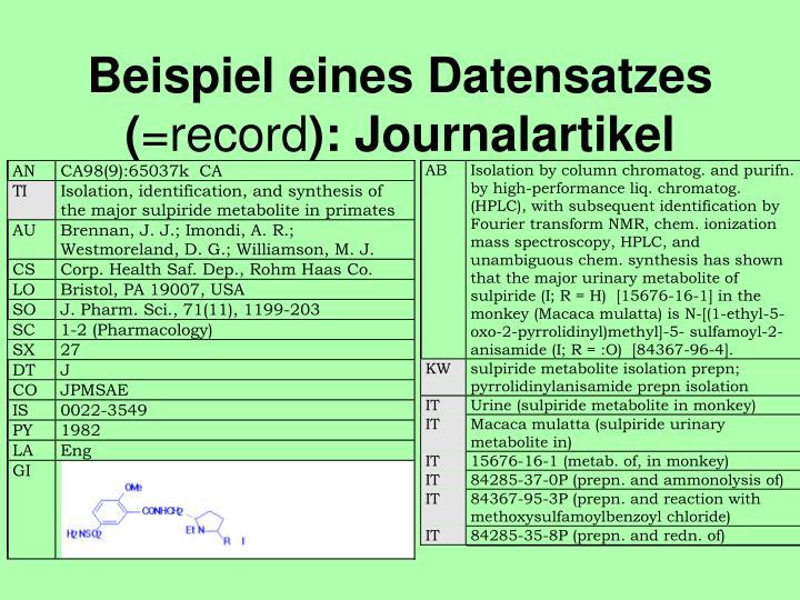 Beispiel eines Datensatzes (
