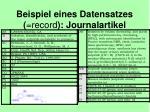 beispiel eines datensatzes record journalartikel