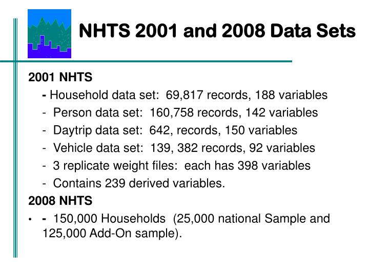 NHTS 2001 and 2008 Data Sets