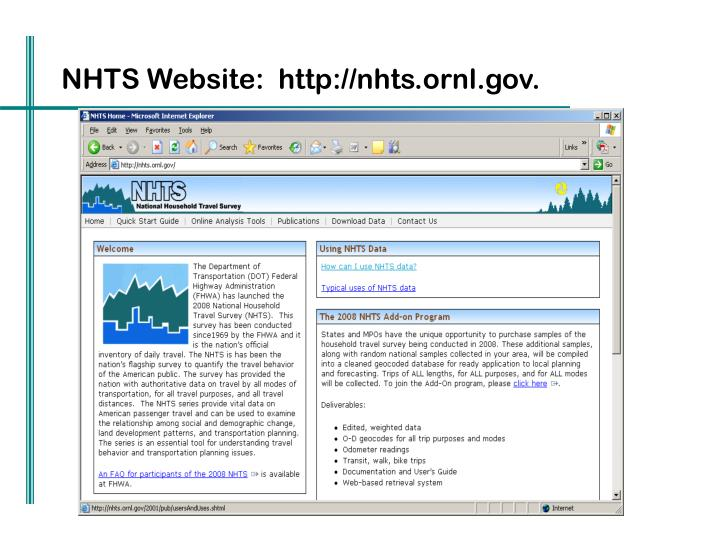 NHTS Website:  http://nhts.ornl.gov.