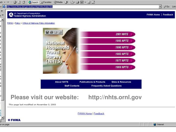 Please visit our website:      http://nhts.ornl.gov