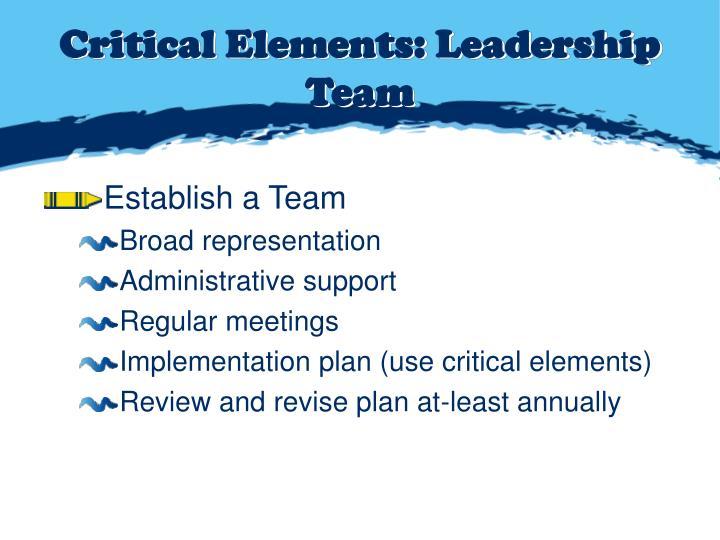 Critical Elements: Leadership Team