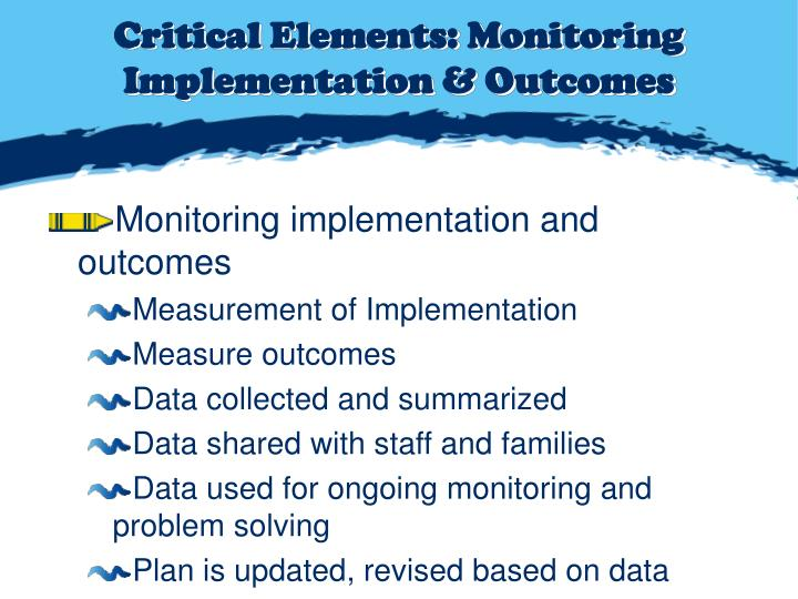 Critical Elements: Monitoring