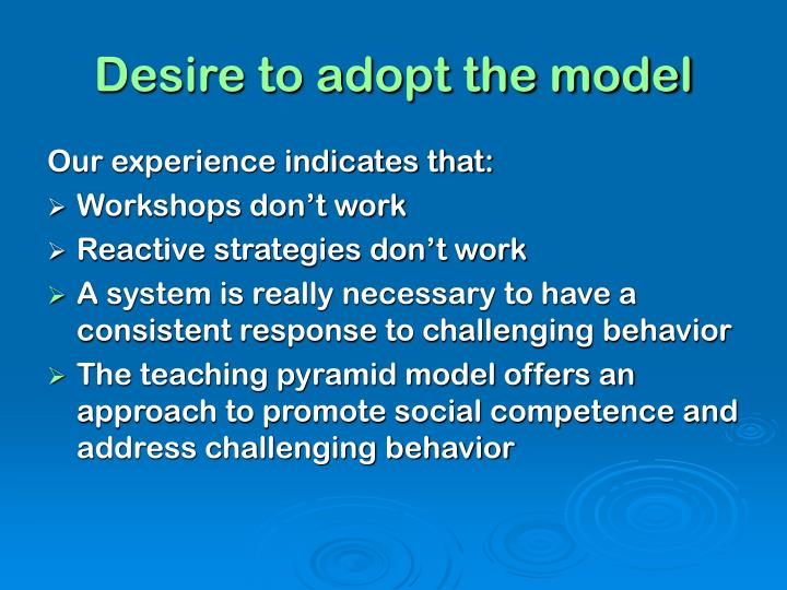 Desire to adopt the model