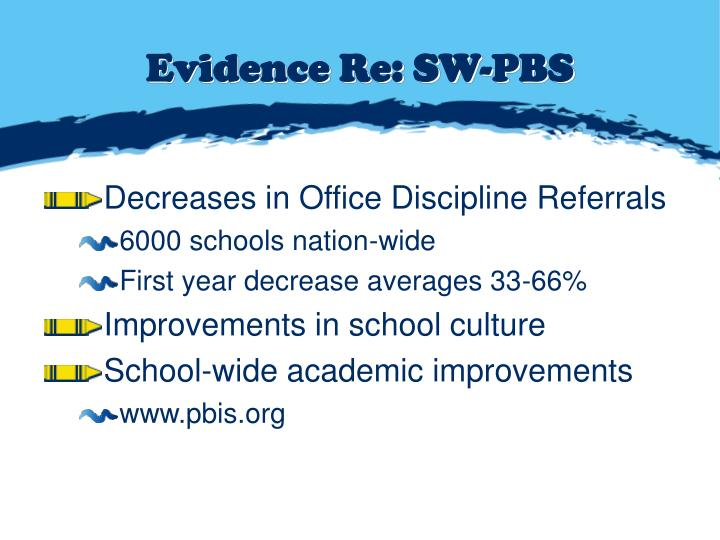 Evidence Re: SW-PBS