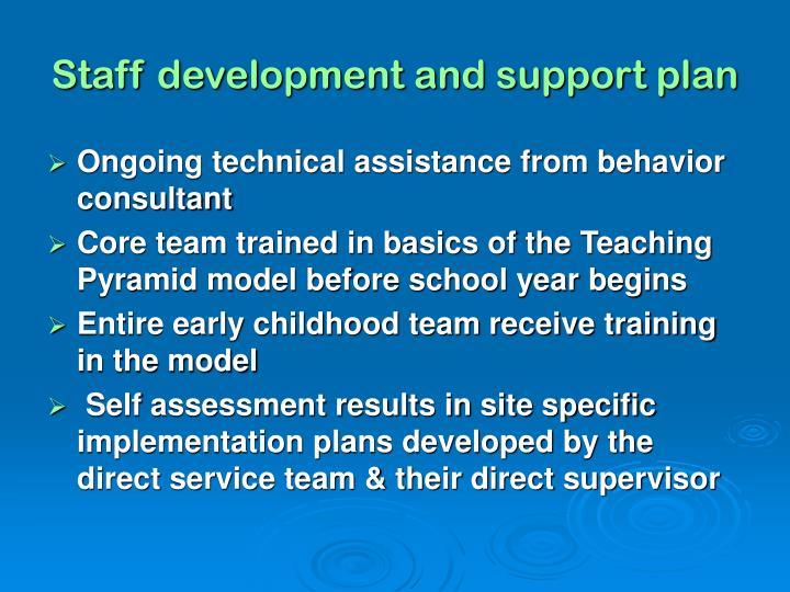 Staff development and support plan