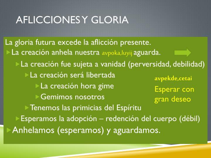 Aflicciones y gloria