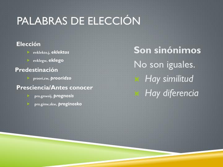 PALABRAS DE ELECCIÓN