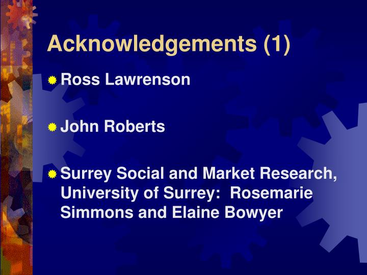 Acknowledgements (1)