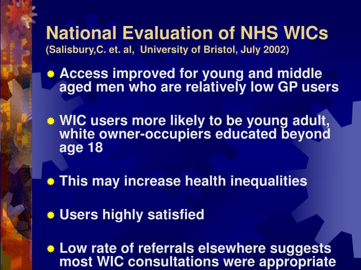 National Evaluation of NHS WICs