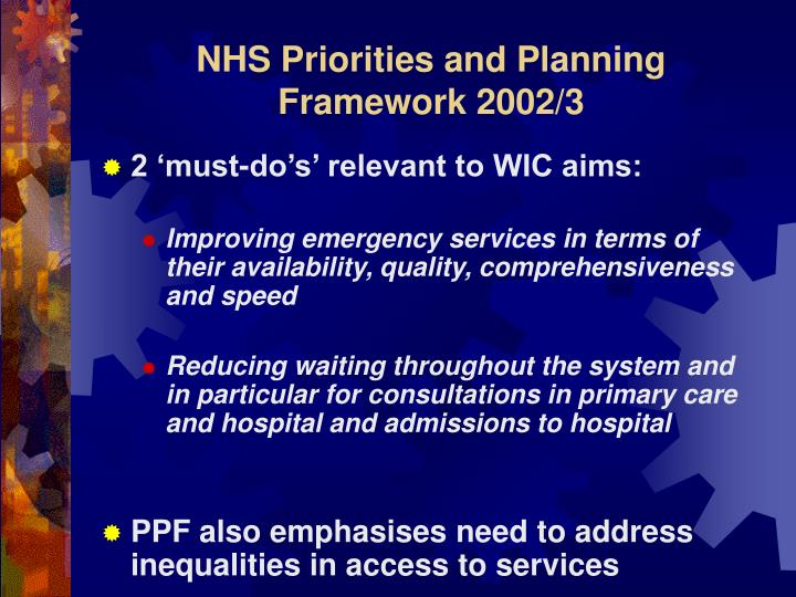 NHS Priorities and Planning Framework 2002/3