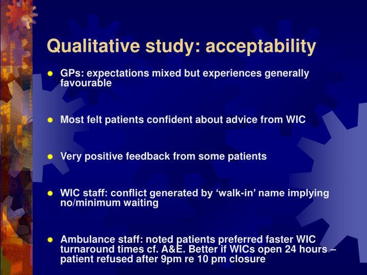 Qualitative study: acceptability